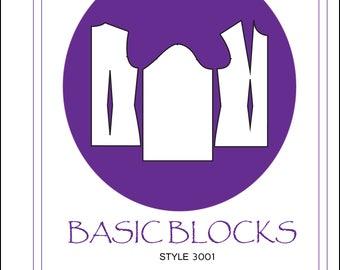 Women's basic bodice sloper/blocks in Misses sizes 6-14 PDF sewing pattern