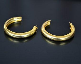 507f91e0e Pair of Big 18K Gold Filled Hoop Earrings, Stud Hoop Earrings, Statement Gold  Hoop Earrings