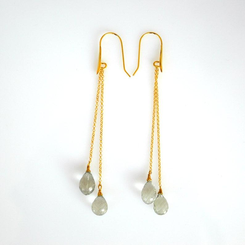 Aquamarine Jewelry Delicate Fine Earrings Long Drop Earrings Dainty Aquamarine Drop Earrings Aquamarine Earrings