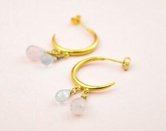 Aquamarine Charm Hoop Earrings ,Huggie Hoop Earrings With Gemstones, Artisan Coin Charm Earrings, Art Deco Medallion Earrings, Gift For Her