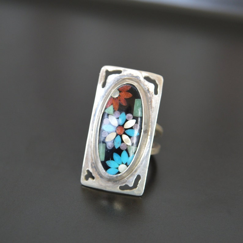 Silver 925 Vintage Ring Artistic Mosaic Ring Handmade Jewelry Vintage Colorful Ring Stylish Ring Beautiful Unique Ring