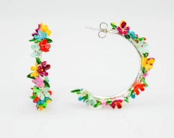 Floral Hoop Earrings, Flower Hoop Earrings, Open Hoop Earrings, Multicolour Hoop Earrings For Woman, Sterling Silver Hoops, Gift For Her