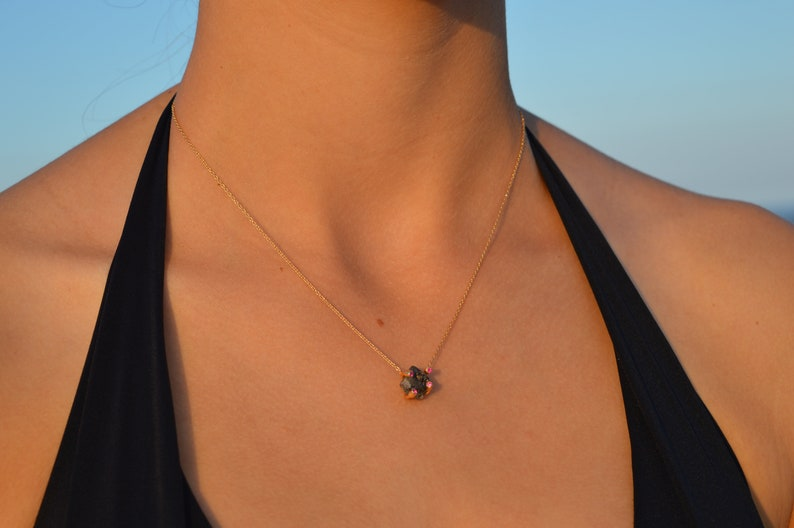 Quartz And Garnet Necklace Rough Stone Necklace Raw Crystal Necklace MInimalist Jewelry Gift For Her Art Deco Pendant