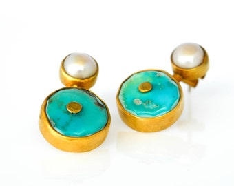 Turquoise Bezel Stud Eerrings, Gemstone Bezel Set Earrings, Statement Turquoise  Pearl Earrings, Art Deco Earrings, Mothers Day Gift For Her