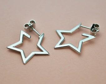 Star Hoop Earrings, Hoop With Star Charm, Celestial Earrings Jewelry, Dainty Open Hoop Earrings, 30mm 20mm Hoop Earrings, Medium Small Hoops