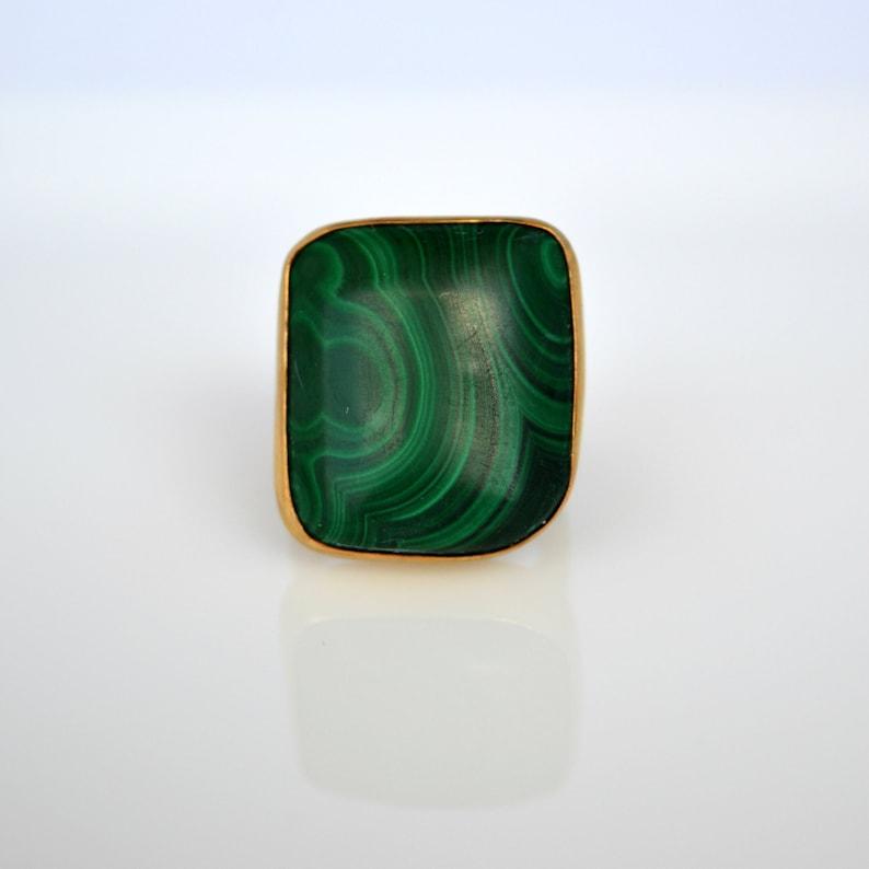 Unique Ring For Woman Sterling Silver Malachite Gemstone Ring Emerald Greenn Gemstone Ring