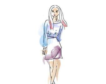 Girl Sketch Etsy