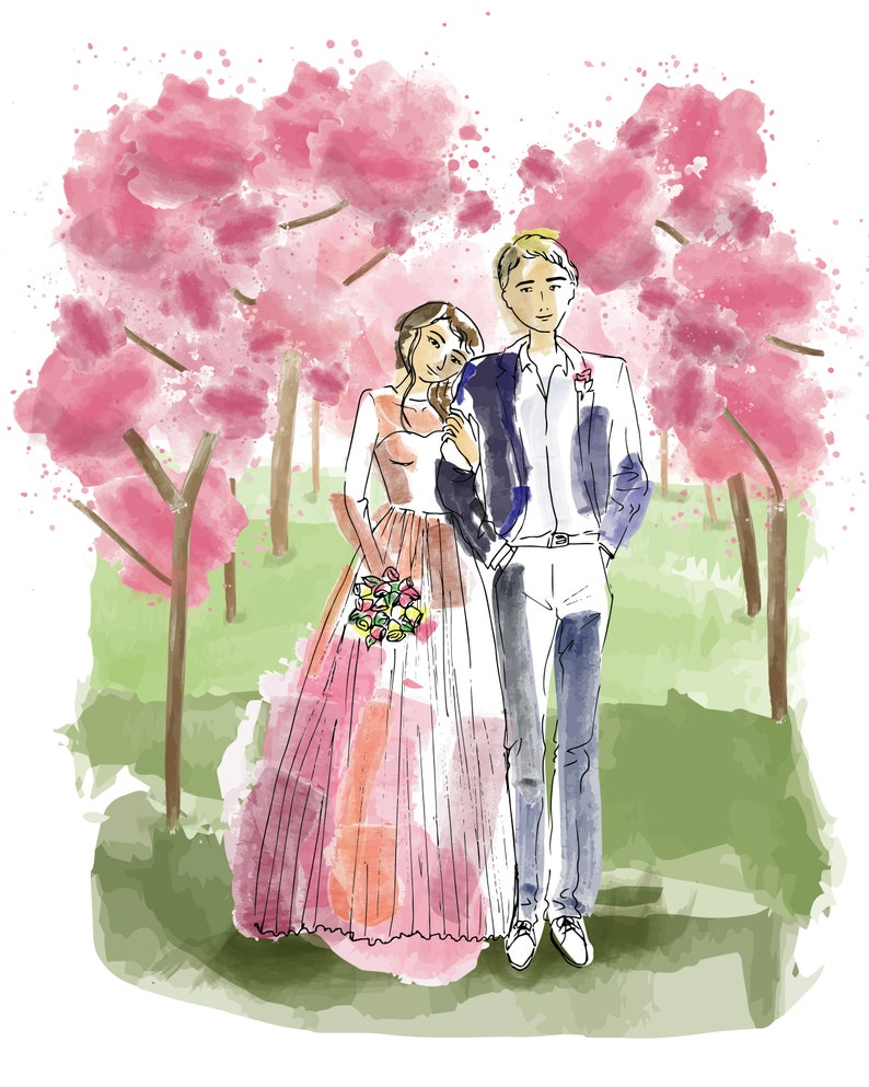 Custom Drawing from Photos Custom Watercolor Digital Art for Bridal Shower Download and Ready to Print Perfect for Personalized Gifts