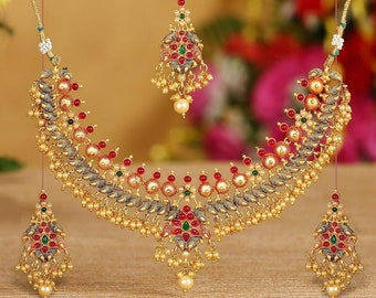 Trustful Ethnic Bollywood Goldplated 2pcs Necklace Earring Set Wedding Party Jewellery Wide Varieties Jewelry & Watches