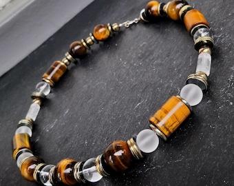 Necklace Tiger Eye Tigerseye necklace crystal Quartz necklace Crystal Quartz juwelry hematite Brown Tiger Eye Gift