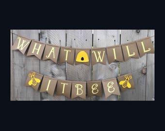 What Will It Bee Gender Reveal Banner   Baby Banner   Baby Shower Banner   Gender Reveal Banner