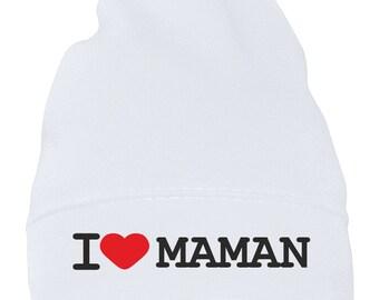 f0874f3a7a704 Bonnet bébé et enfant   I love maman. SiMEDIO