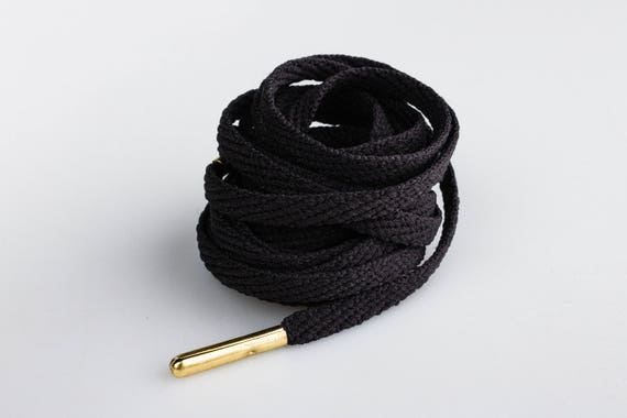 Premium Laces Flat Black Lace with Gold Metal Tip Laces Mr Lacy Skinnies