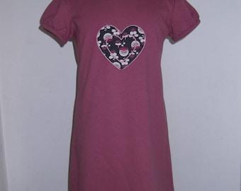 DRESS PINK SWEET HEART FLEECE FROM 3 TO 6/7 YEARS