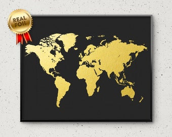 Gold foil world map etsy custom text world map print real gold foil print personalized world map wall art poster up to 16x20 goldengraphy gumiabroncs Choice Image