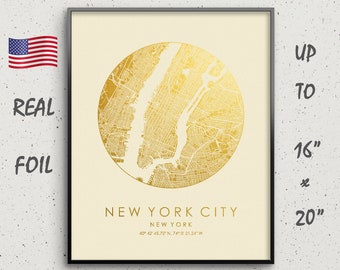 Birthday Gift Idea For Him Her New York City Map Print Gold Silver Foil NYC Women Men Friends Wall Art Poster