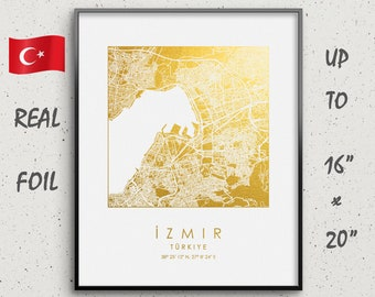 turkey home office apartments zmir map print gold silver foil square city wall art poster up to 16 turkey print etsy