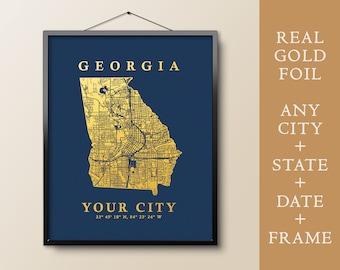 Personalized South Carolina Wall Art Poster South Carolina travel South Carolina state and your City map Real Gold /& Sillver foil print