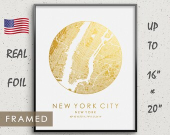 Personalized Gift Idea New York City Map Gold Silver Foil Framed Print Birthday Wedding Anniversary Gifts Frame Available US GoldenGraphy