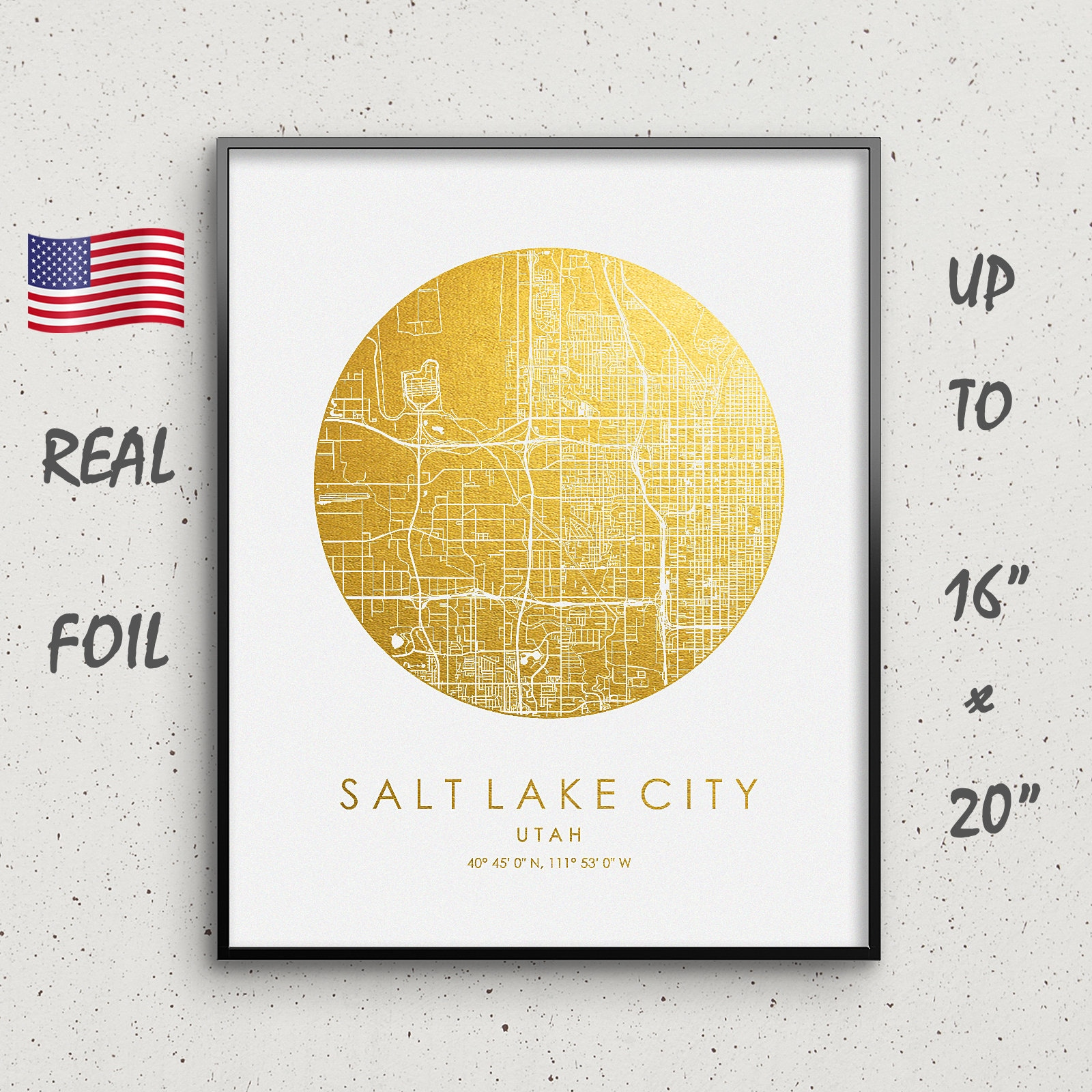 Salt Lake City Map Print, Gold & Silver Foil, Circle Map, Salt Lake City  Wall Art, Salt Lake City city Poster up to 16x20