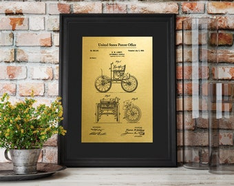 "Vintage 1900 Retro Car Gold Foil Patent Prints up to 16""x20"" Automobile Vehicle Classic Car Wall Art Poster Home Decor GoldenGraphy 01005"
