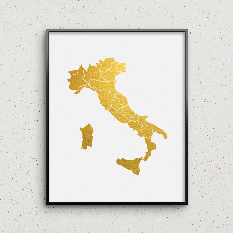 Italy Map Print Real Gold /& Silver Foil Prints Country Map Wall Art Poster up tu 16x20 Gifts for Home Office Decor GoldenGraphy