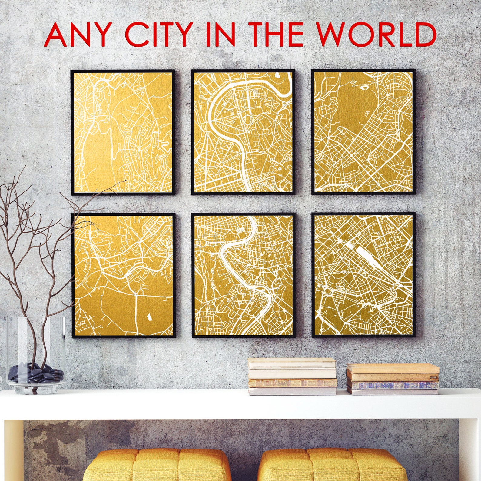 Large Custom City Map Gold & Silver Foil Print set of 6 parts up to 32