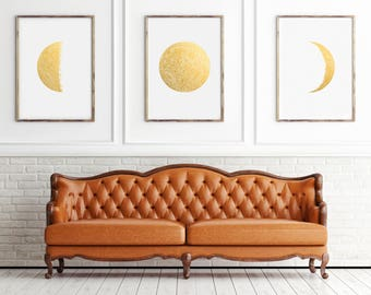"""Moon Phases Real Gold Foil set of 3 Large Print up to 16""""x20"""" Lunar Phases Luna Art Poster Home Office Decor Golden Moon Gift GoldenGraphy"""