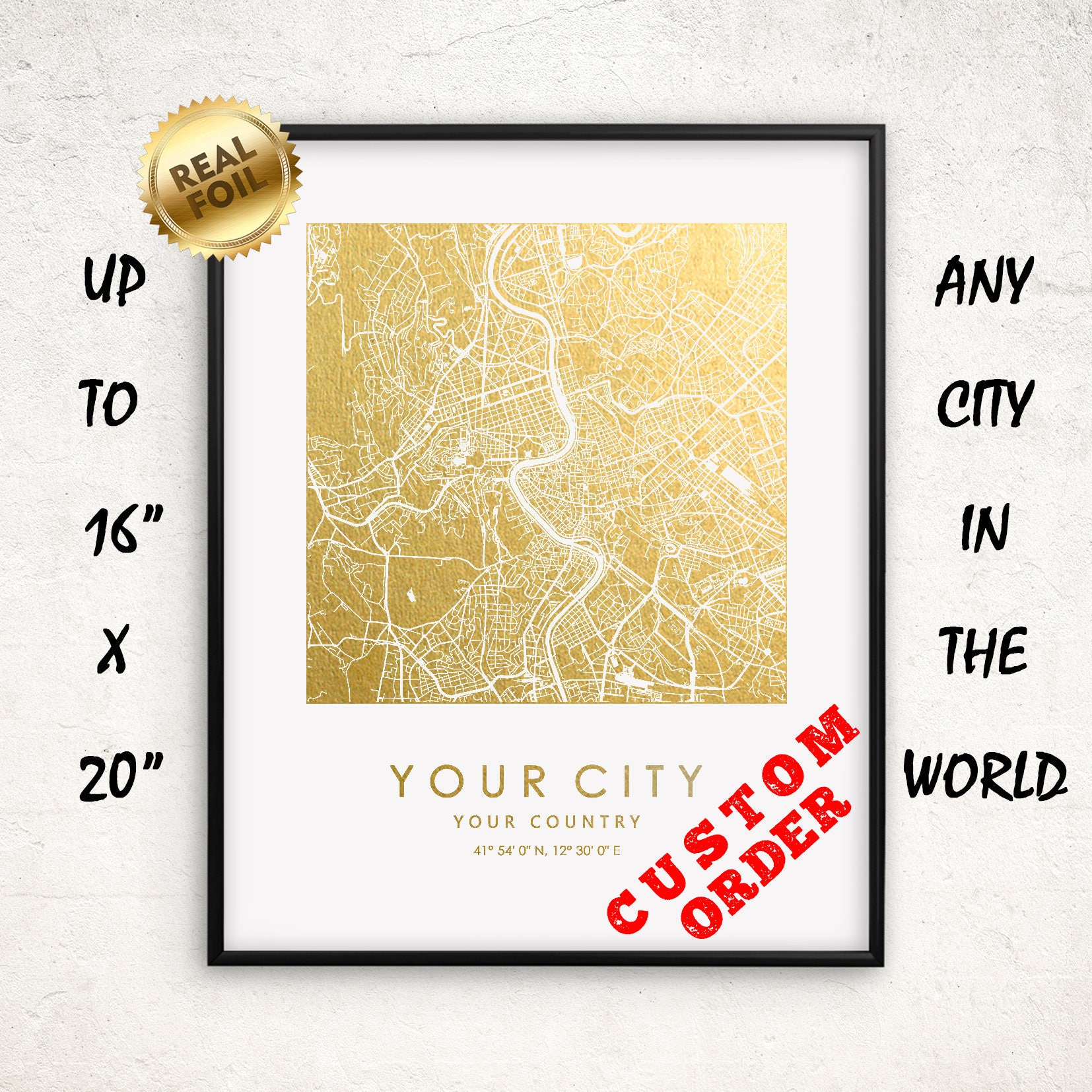 Custom Square City Map Gold and Silver Real Foil Print up to | Etsy