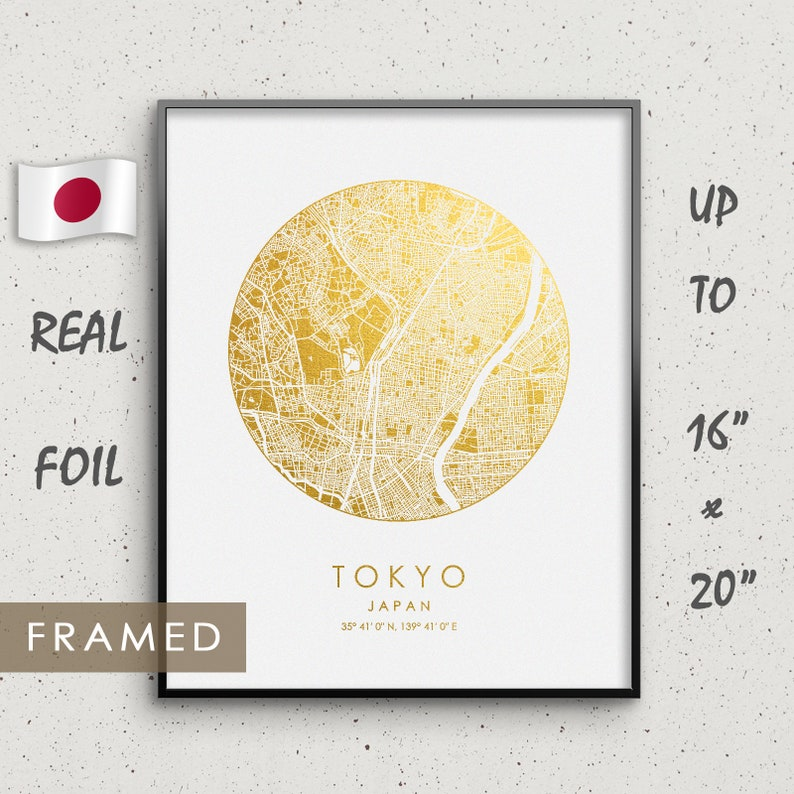 Tokyo 東京 Personalized Map Gold & Silver foil framed print Birthday Wedding  Anniversary gifts Frame available Japan city print GoldenGraphy