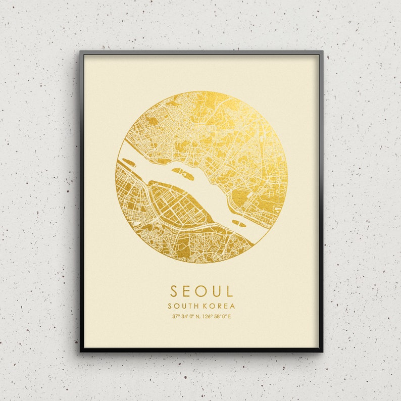 Seoul Map Print Gold /& Silver Foil Circle City Map Wall Art Poster Personalized Gift Idea Travel Home Decor South Korea by GoldenGraphy