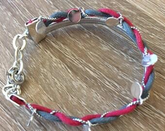 Bracelet enfant tressé rose et argenté