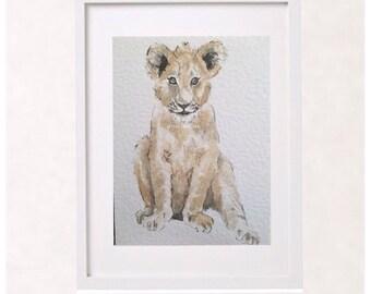 9f2631d21b402 Baby animal  baby lion cub  safari nursery  watercolour  watercolor  painting  print  wall art  kids decor