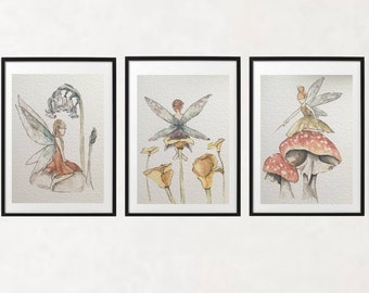 Set of 3 fairy prints/ whimsical woodland/ enchanted forest/ watercolour/ nursery art prints