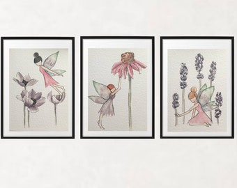 Set of 3 prints/ fairies and flowers/ fairy art/ watercolour prints/ girls decor/ whimsical/ enchanted forest