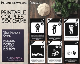Printable couples sex game with sex positions, naughty last minute gift for boyfriend