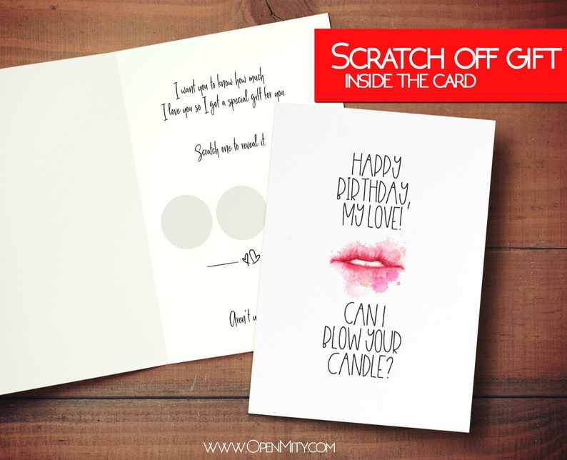 Sexy and naughty Birthday card for him with scratch off gift