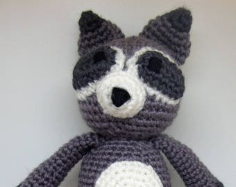 READY TO SHIP, Ami Raccoon, Crochet Raccoon, Crochet Toy, Handmade Raccoon, Amigurumi Toy, Made to Order Toy, Stuffed Toy, Crochet Doll
