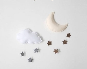 Cloud and raindrops, set of 2 clouds, hanging decoration nursery kids baby, cloud, felt, Moon and cloud duo
