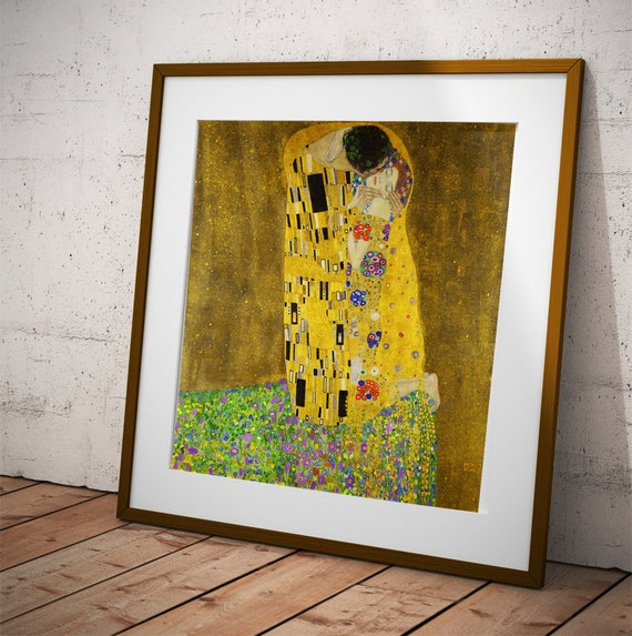 """LOVERS PAINTING /""""THE KISS /"""" FINE ART PRINT ON PAPER"""