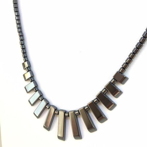 1 13 Piece Hematite Mini Collar Tab Set Bib Egyptian Fan