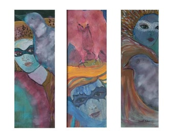 venetian masks painting, triptich painting, woman with bird painting, carnival painting, festival painting, carnival of venice
