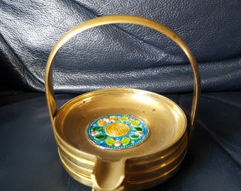 Vintage Stacking Chinese Brass Ashtrays with Enamelled Bats