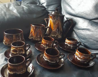 1960s French Vallauris coffee set