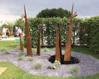 Dragonflies On Blades; Rusted metal and bronze garden sculpture;