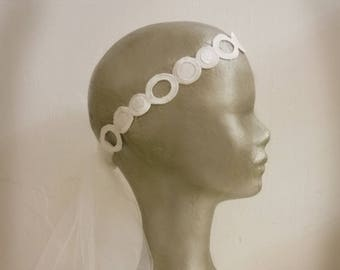 Headband bridal headband wedding headpiece, Bridal, tulle, round, geometric pattern, retro inspiration