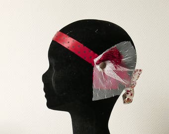 Headband, satin, satin, tulle, tassel, red, Burgundy, black, retro inspiration