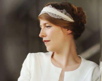 Headband lace, silk, wedding, retro-inspired Bohemian headpiece