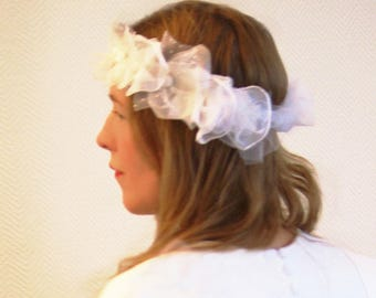 Bridal headband headpiece wedding couonne flowers, tulle, chiffon silk satin, retro inspiration