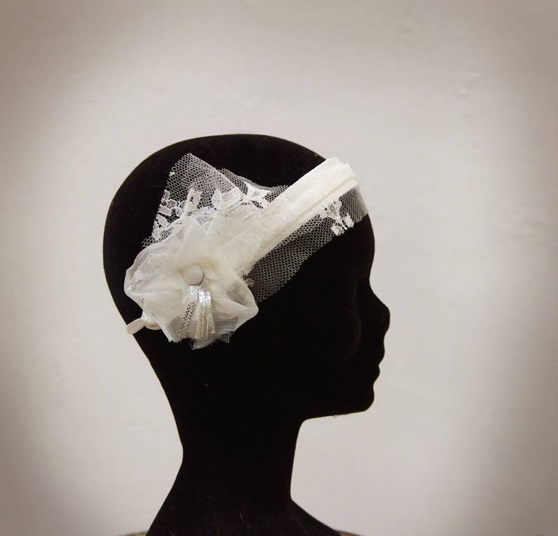 ribbons retro-inspired Bridal /'crazy years/' headpiece accessory wedding flower silk lace silk button silver leather